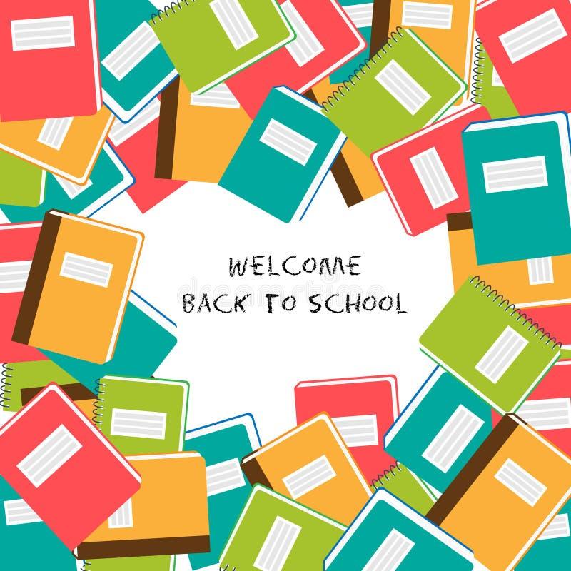 Καλωσορίστε πίσω στο σχολείο - υπόβαθρο με το σημειωματάριο σχολικού χρώματος στοκ φωτογραφία