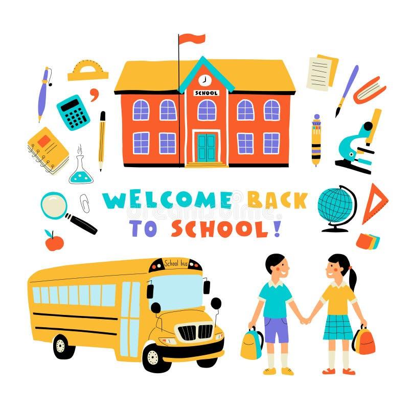 Καλωσορίστε πίσω στο σχολείο, χαριτωμένο ζωηρόχρωμο σύνολο doodle με την εγγραφή Συρμένη χέρι απεικόνιση, που απομονώνεται διανυσ απεικόνιση αποθεμάτων