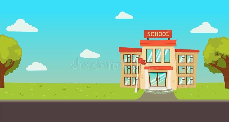 Καλωσορίστε πίσω στο σχολικό έμβλημα Οδός με το εκπαιδευτικό εξωτερικό οικοδόμησης απεικόνιση αποθεμάτων