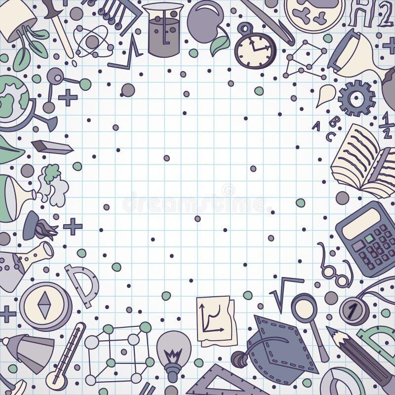 Καλωσορίστε πίσω υπόβαθρο σχολικού συρμένο στο χέρι ανεφοδιασμού doodles Διανυσματική απεικόνιση των κινούμενων σχεδίων πίσω στις διανυσματική απεικόνιση