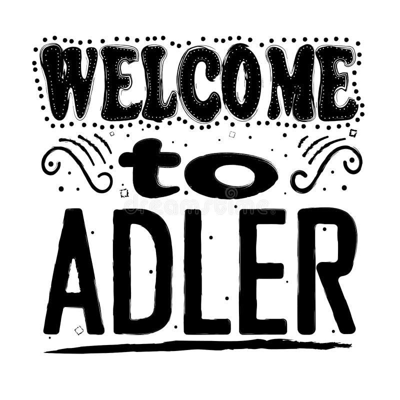 Καλωσορίστε σε Adler - επιγραφή, μαύρες επιστολές στο άσπρο υπόβαθρο στοκ φωτογραφίες