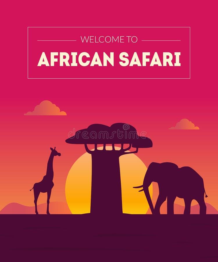 Καλωσορίστε στο αφρικανικό πρότυπο εμβλημάτων Safary, το όμορφο τοπίο με τις σκιαγραφίες ζώων και το δέντρο αδανσωνιών στο διάνυσ απεικόνιση αποθεμάτων