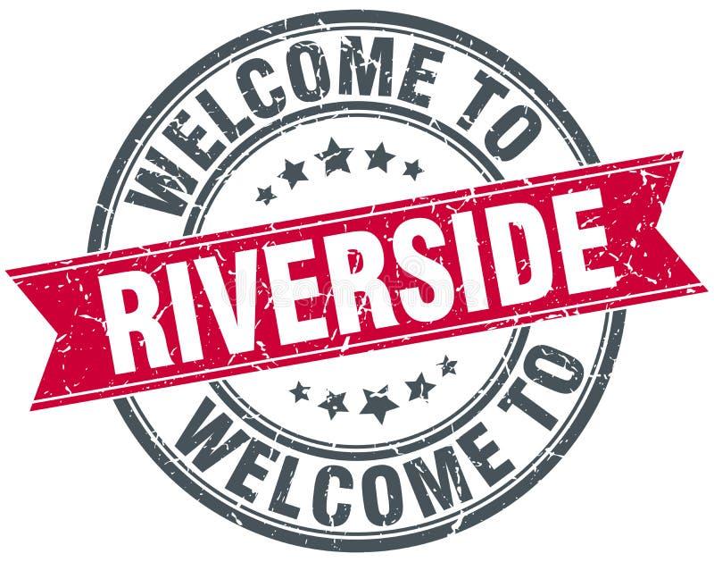 Καλωσορίστε στο γραμματόσημο όχθεων ποταμού διανυσματική απεικόνιση