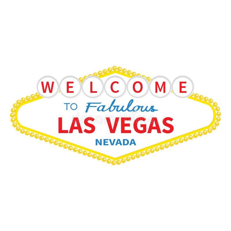 Καλωσορίστε στο εικονίδιο σημαδιών του Λας Βέγκας Κλασικό αναδρομικό σύμβολο Θέα της Νεβάδας showplace Επίπεδο σχέδιο Άσπρη ανασκ διανυσματική απεικόνιση