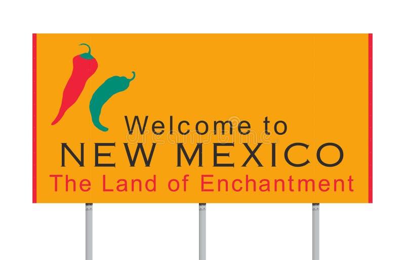 Καλωσορίστε στο οδικό σημάδι Νέων Μεξικό διανυσματική απεικόνιση