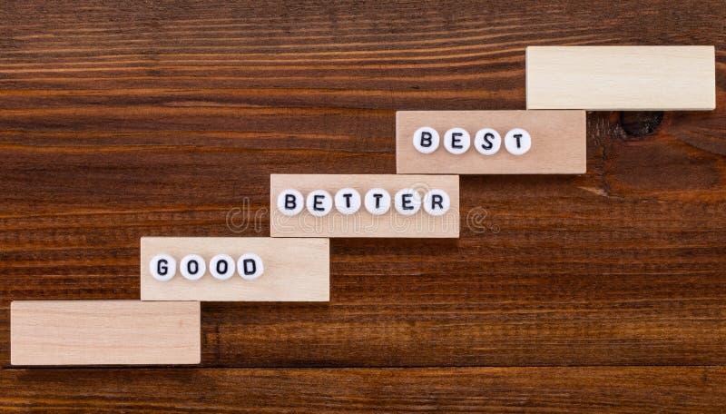 Καλός - καλύτερα - καλύτερος στο ξύλινο υπόβαθρο στοκ εικόνες