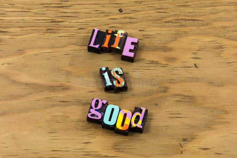 Καλός μεγάλος ζωής απολαμβάνει το ευτυχές υγιές letterpress απόσπασμα στοκ φωτογραφία με δικαίωμα ελεύθερης χρήσης