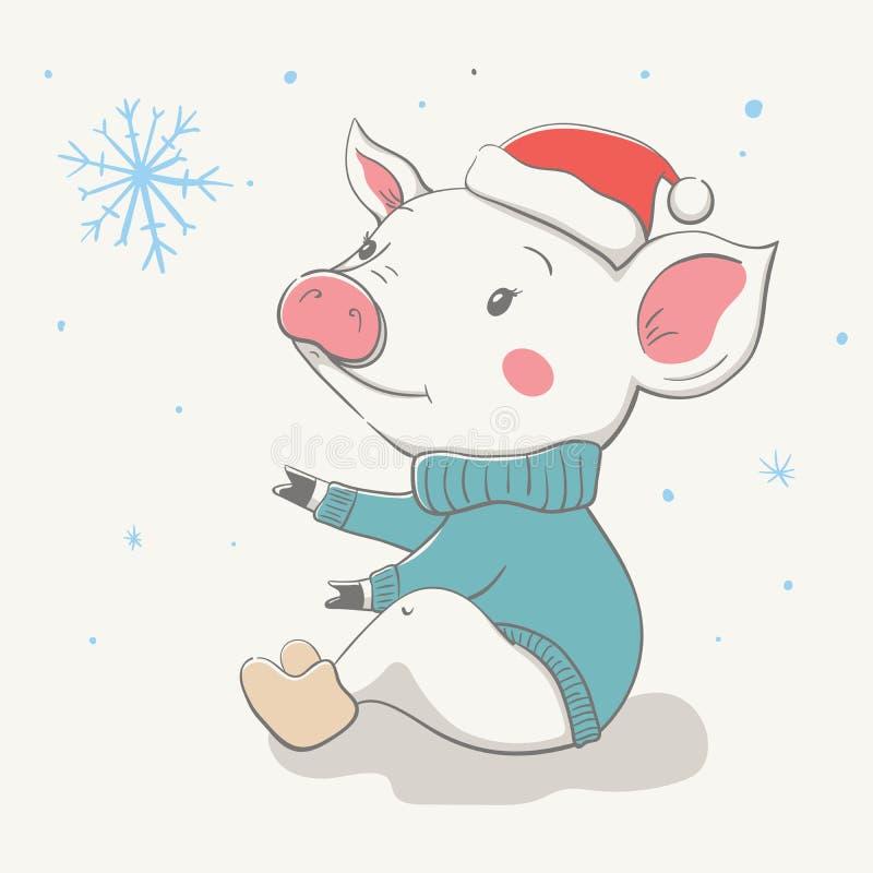Καλός χαριτωμένος εύθυμος piggy κάθεται σε ένα κόκκινο καπέλο Χριστουγέννων και ένα Τζέρσεϋ ή το πουλόβερ Κάρτα με το ζώο κινούμε διανυσματική απεικόνιση