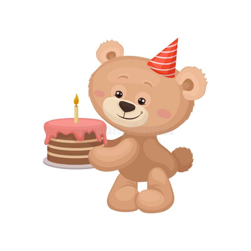 Καλός teddy αφορά με το καπέλο κομμάτων το επικεφαλής κέικ γενεθλίων εκμετάλλευσης νόστιμο με το κάψιμο του κεριού Επίπεδο στοιχε διανυσματική απεικόνιση