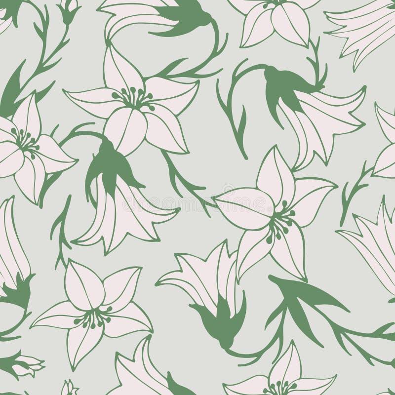 Καλό άνευ ραφής σχέδιο λουλουδιών με τα hand-drawn bluebells ελεύθερη απεικόνιση δικαιώματος