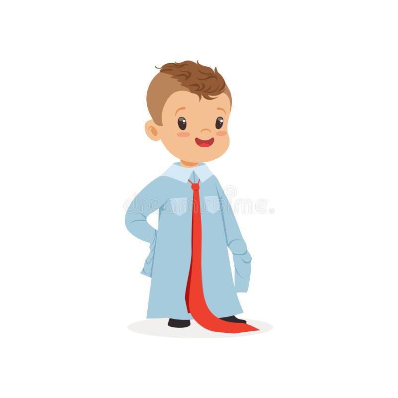 Καλό αγόρι που φορούν dult το μεγάλου μεγέθους πουκάμισο και δεσμός, παιδί που προσποιούνται να είναι ενήλικη διανυσματική απεικό διανυσματική απεικόνιση