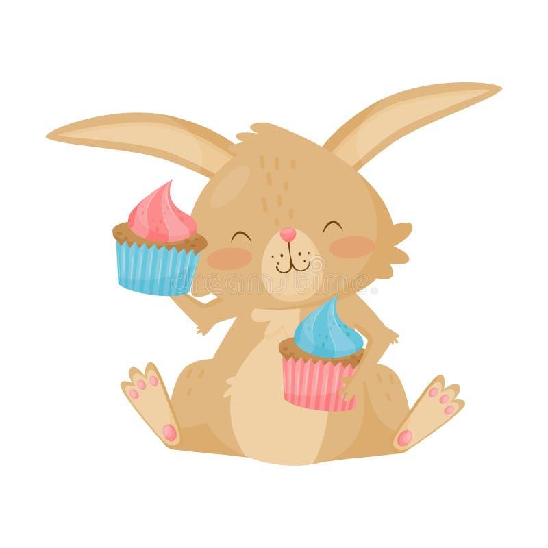 Καλό καφετί λαγουδάκι με δύο νόστιμα cupcakes Χαριτωμένο κουνέλι με τα ρόδινα μάγουλα Επίπεδο διάνυσμα για την κάρτα ή την αφίσα  ελεύθερη απεικόνιση δικαιώματος
