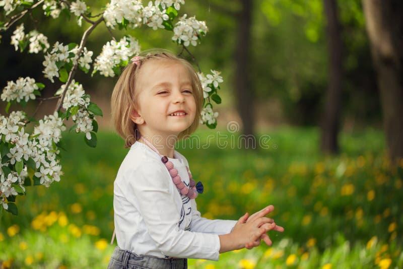 Καλό κορίτσι σε έναν ανθίζοντας οπωρώνα μήλων την ηλιόλουστη άνοιξη στοκ φωτογραφία