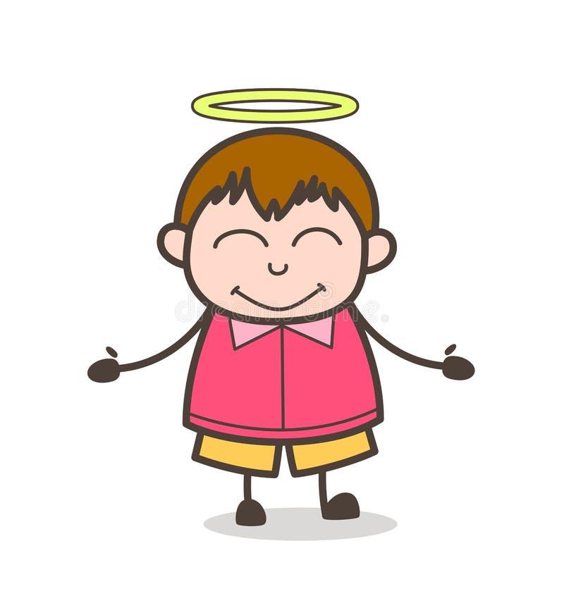 Καλό μικρό παιδί καρδιών με το φωτοστέφανο - χαριτωμένη απεικόνιση παιδιών κινούμενων σχεδίων παχιά διανυσματική απεικόνιση