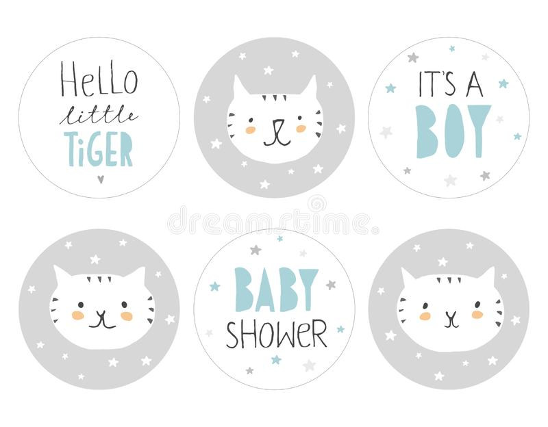 Καλό ντους μωρών γύρω από το σύνολο ετικεττών μορφής Γειά σου λίγη τίγρη διανυσματική απεικόνιση