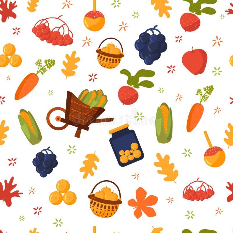 Καλό συγκομιδών φθινοπώρου άνευ ραφής υπόβαθρο τροφίμων σχεδίων διανυσματικό με τα φρούτα και λαχανικά, κολοκύθα, καλαμπόκι, σταφ ελεύθερη απεικόνιση δικαιώματος
