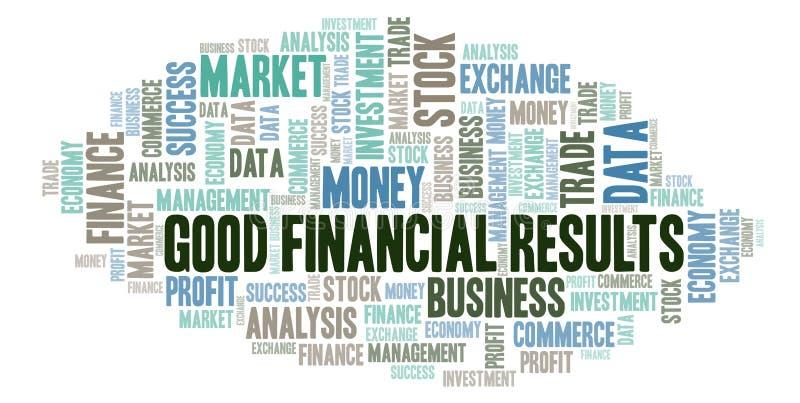 Καλό σύννεφο λέξης χρηματοοικονομικών αποτελεσμάτων διανυσματική απεικόνιση