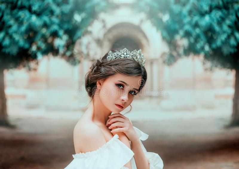 Καλό τρυφερό κορίτσι με το τέλειο δέρμα και τα σκοτεινά θαυμάσια μάτια, θαυμάσια εργασία του κομμωτή και μαζευμένη καφετιά τρίχα στοκ φωτογραφία με δικαίωμα ελεύθερης χρήσης