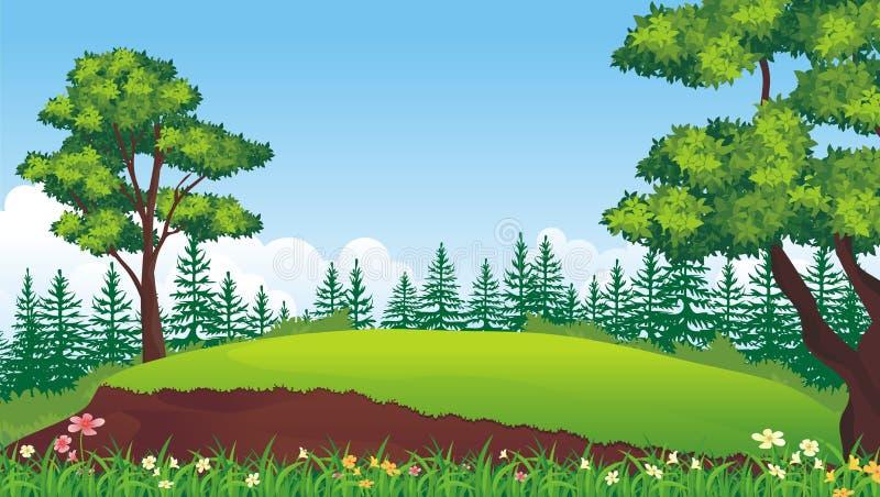 Καλό υπόβαθρο τοπίων φύσης κινούμενων σχεδίων απεικόνιση αποθεμάτων