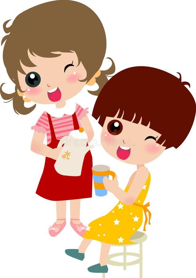 καλό χύνοντας τσάι κοριτσ&io ελεύθερη απεικόνιση δικαιώματος