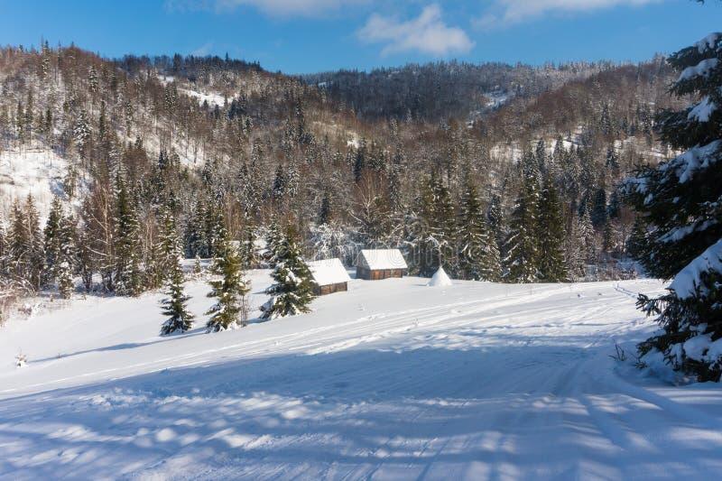 Καλύβες σε ένα χιονισμένο δάσος στα βουνά το χειμώνα στοκ φωτογραφία με δικαίωμα ελεύθερης χρήσης