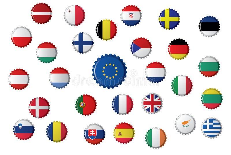Καλύμματα μπουκαλιών με τις διαφορετικές σημαίες, την Ευρωπαϊκή Ένωση και τις χώρες που περιλαμβάνει στοκ φωτογραφία με δικαίωμα ελεύθερης χρήσης
