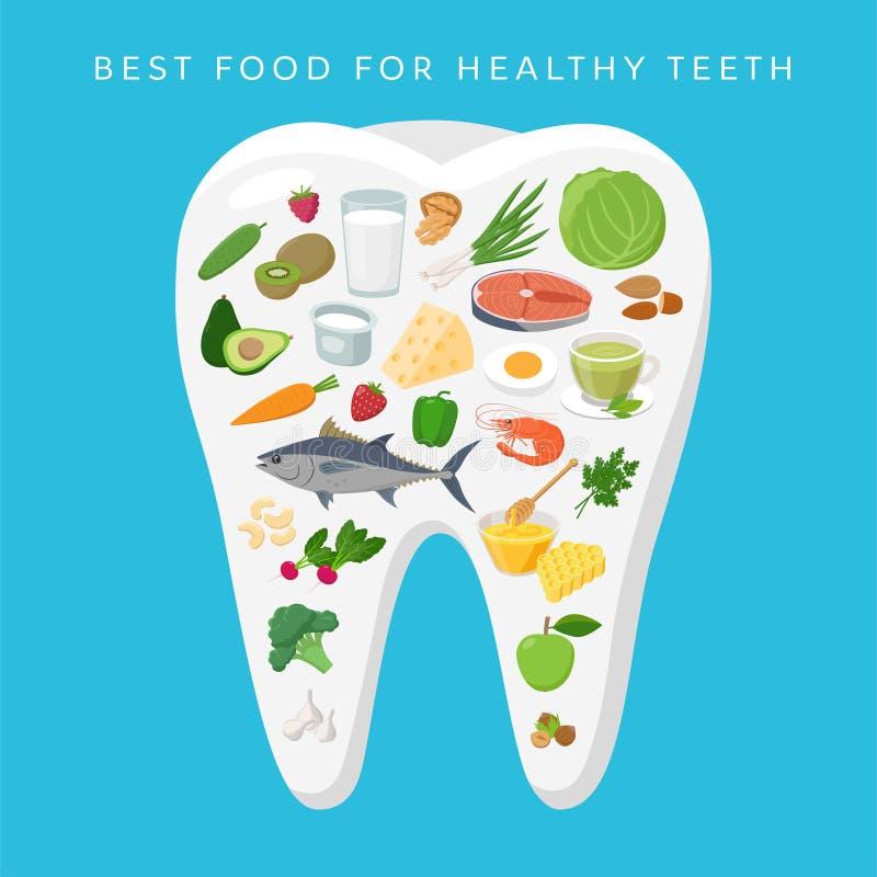 Καλύτερα τρόφιμα για τη διανυσματική απεικόνιση έννοιας δοντιών Helthy στο επίπεδο σχέδιο Υγιή τρόφιμα που τοποθετούνται στην άσπ απεικόνιση αποθεμάτων