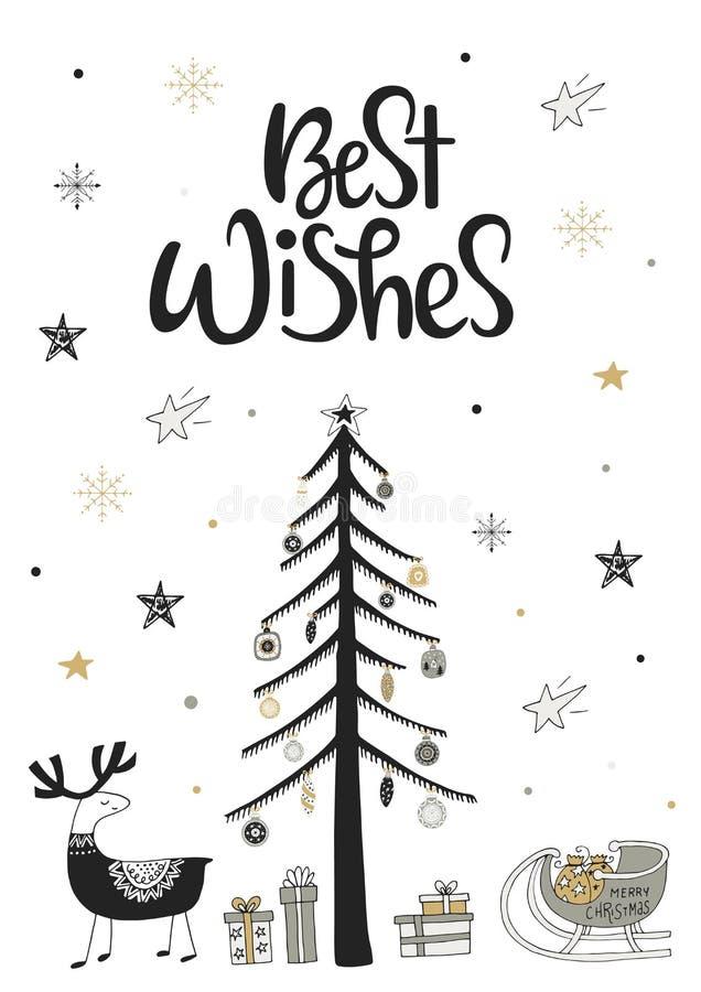 Καλύτερες ευχές - συρμένη χέρι κάρτα Χριστουγέννων στο Σκανδιναβικό ύφος με τα μονοχρωματικές στοιχεία και την εγγραφή ελεύθερη απεικόνιση δικαιώματος