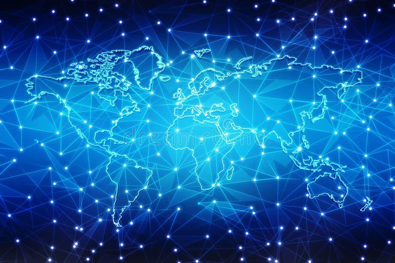 Καλύτερη έννοια Διαδικτύου του παγκόσμιου επιχειρηματικού πεδίου, ψηφιακό αφηρημένο υπόβαθρο τεχνολογίας Ηλεκτρονική, WI-Fi, ακτί απεικόνιση αποθεμάτων