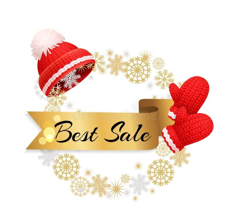 Καλύτερη αφίσα το θερμό Red Hat, γάντια προσφοράς χειμερινής πώλησης απεικόνιση αποθεμάτων