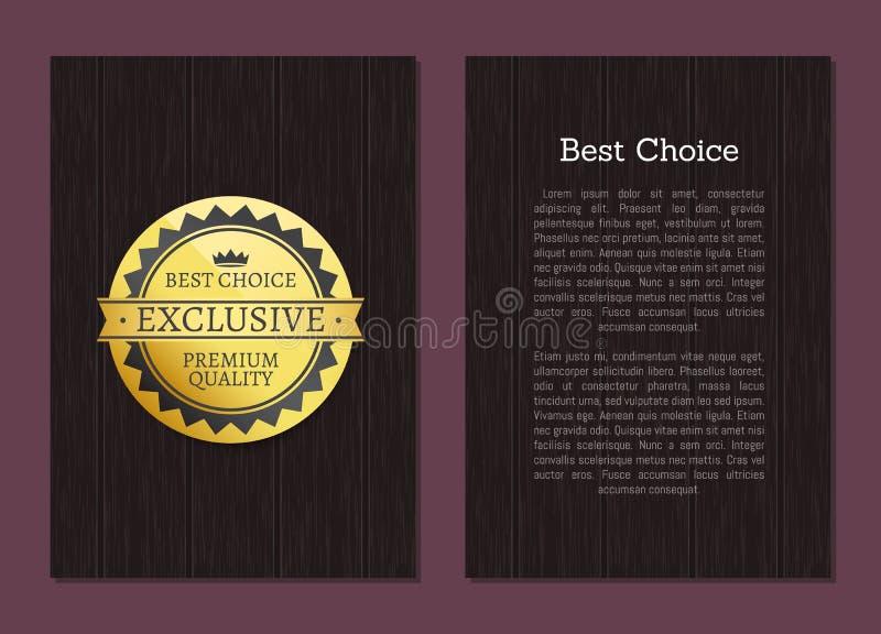 Καλύτερη επιλογή υψηλή - χρυσή ανταμοιβή ετικετών ποιοτικών γραμματοσήμων διανυσματική απεικόνιση