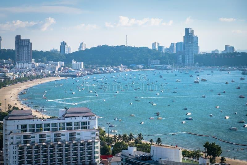 Καλύτερη πανοραμική άποψη της άποψης Pattaya από το Hill Pratumnak Ορίζοντας πόλεων Pattaya σε Chonburi Ταϊλάνδη στοκ εικόνες με δικαίωμα ελεύθερης χρήσης