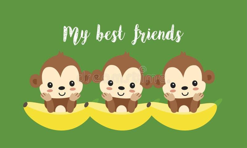 Καλύτεροι φίλοι με τους χαριτωμένους πιθήκους Ευτυχή ζωικά κινούμενα σχέδια ζουγκλών διανυσματική απεικόνιση