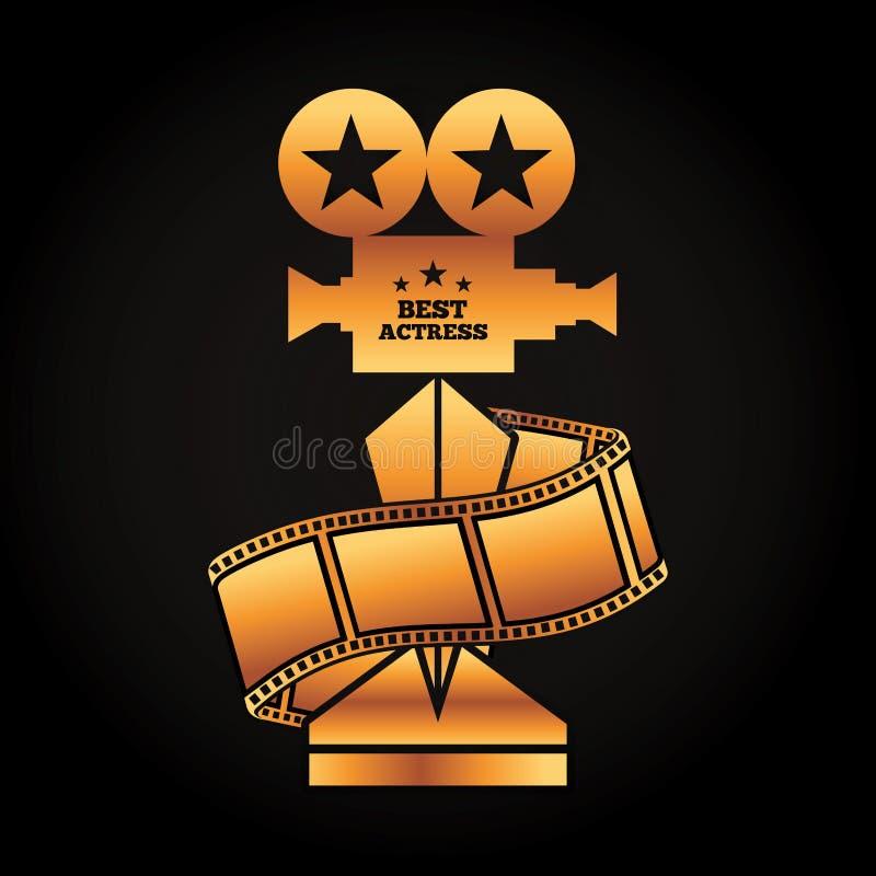 Καλύτερος κινηματογράφος ταινιών λουρίδων ηθοποιών χρυσών βραβείων τροπαίων προβολέων διανυσματική απεικόνιση