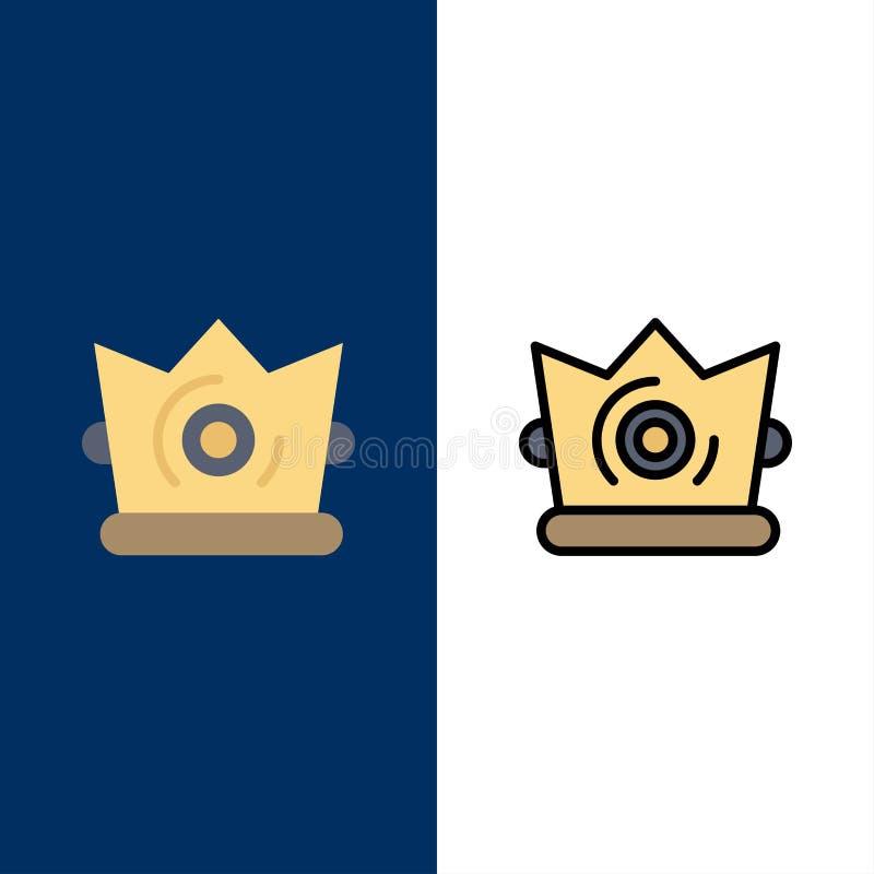 Καλύτερος, κορώνα, βασιλιάς, εικονίδια Madrigal Επίπεδος και γραμμή γέμισε το καθορισμένο διανυσματικό μπλε υπόβαθρο εικονιδίων ελεύθερη απεικόνιση δικαιώματος