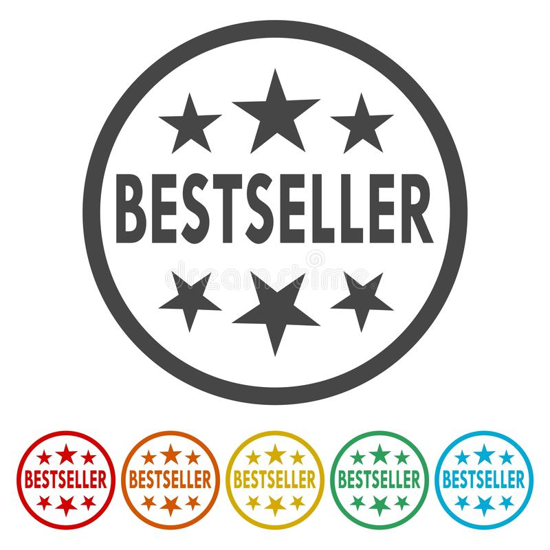 Καλύτερος πωλητής γύρω από το σύνολο εικονιδίων, χρωματισμένα κουμπιά Διαδικτύου σχεδίου κύκλων ελεύθερη απεικόνιση δικαιώματος