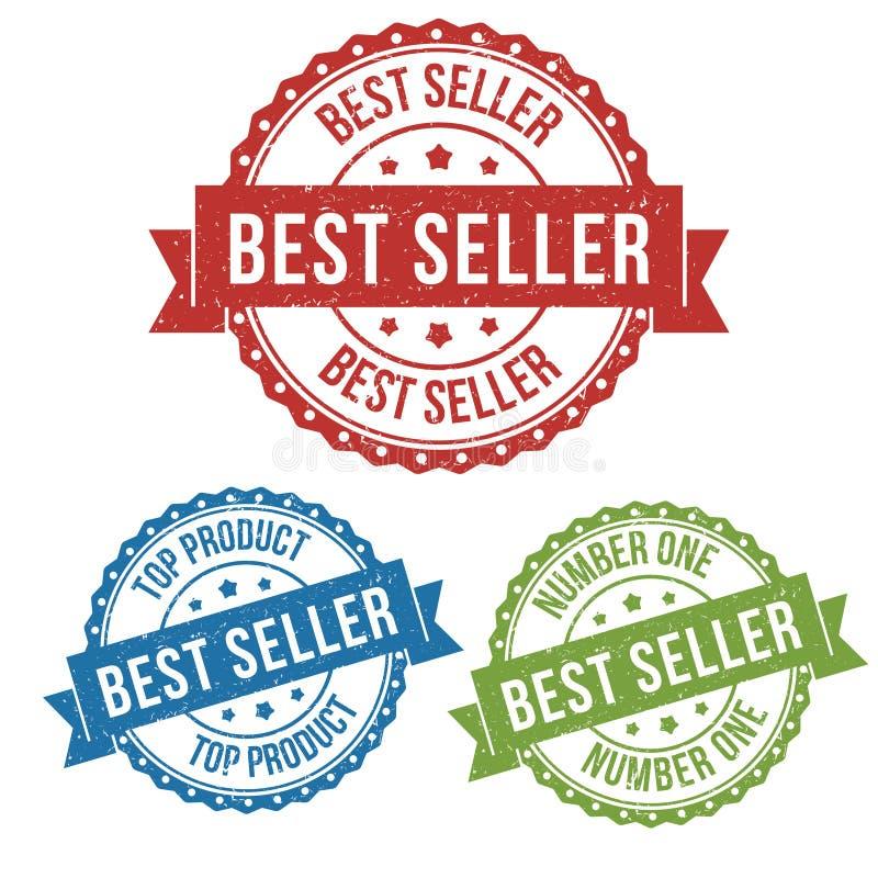 Καλύτερος πωλητής, τοπ προϊόν, διανυσματική ετικέττα γραμματοσήμων ετικετών διακριτικών για το προϊόν, πωλώντας σε απευθείας σύνδ απεικόνιση αποθεμάτων
