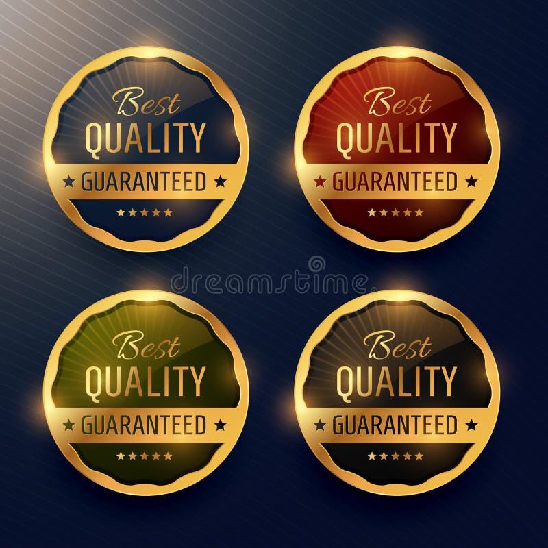 καλύτερο εγγυημένο ποιότητα ασφάλιστρο χρυσή ετικέτα και διάνυσμα διακριτικών des απεικόνιση αποθεμάτων