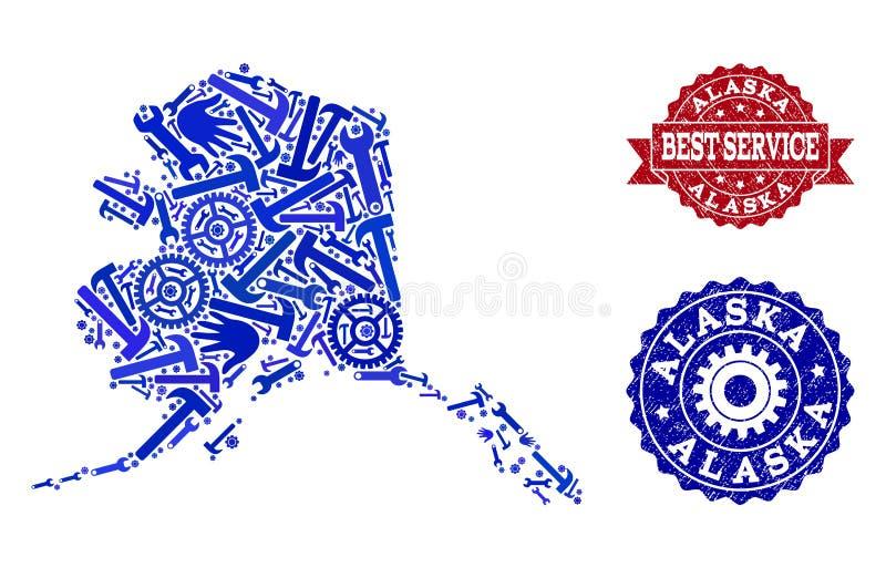 Καλύτερο κολάζ υπηρεσιών του χάρτη των γραμματοσήμων κράτους και Grunge της Αλάσκας ελεύθερη απεικόνιση δικαιώματος