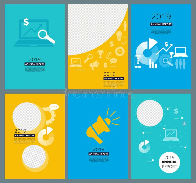 Καλύψεις ετήσια εκθέσεων Το πρότυπο σχεδίου φυλλάδιων επιχειρησιακής επιχείρησης με τη θέση για το κείμενό σας και οι εικόνες αφα διανυσματική απεικόνιση