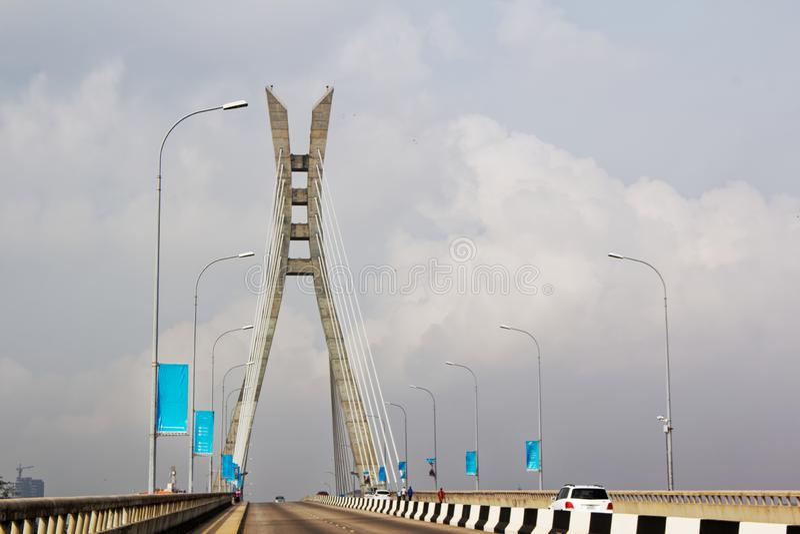 Καλώδιο-μένοντη γέφυρα, γέφυρα αναστολής - Lekki, Λάγκος, Νιγηρία στοκ φωτογραφίες