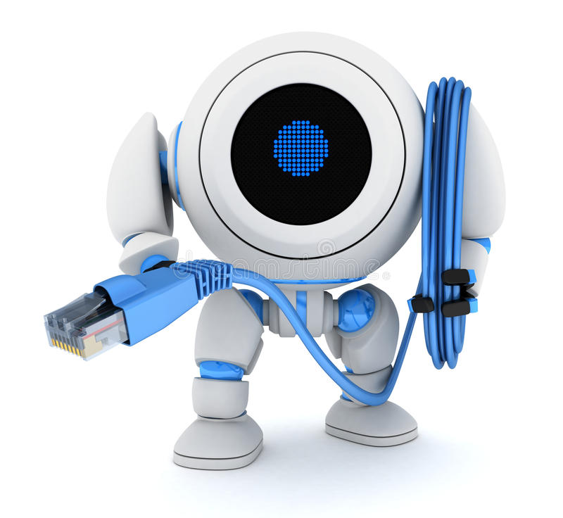 Καλώδιο ρομπότ και υπολογιστών ελεύθερη απεικόνιση δικαιώματος