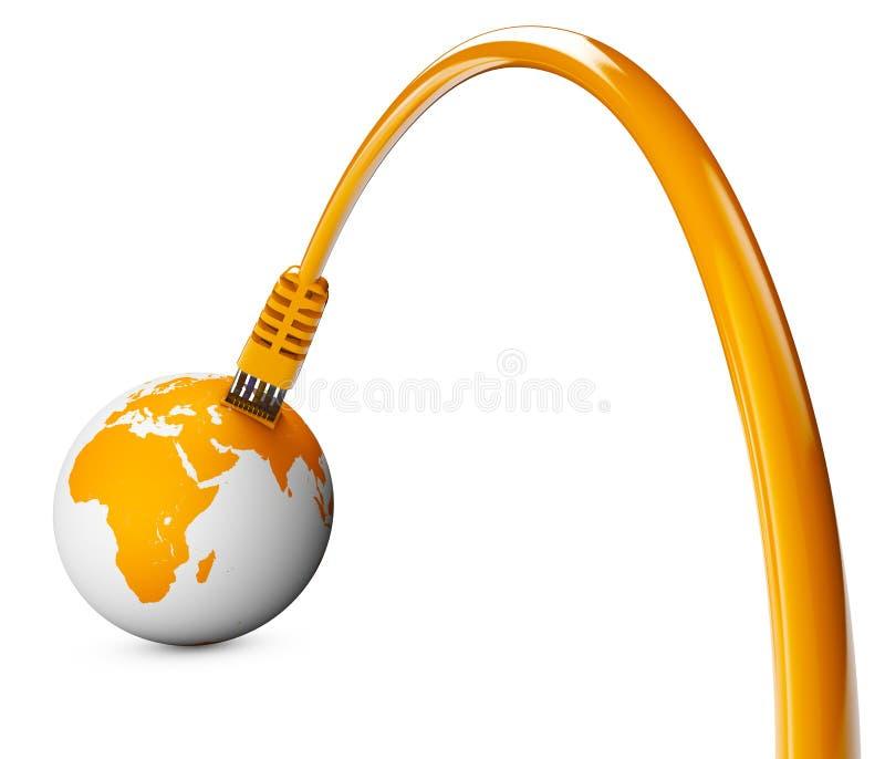 Καλώδιο Ethernet, σύνδεση στο Διαδίκτυο, εύρος ζώνης Ο κόσμος στον Ιστό απεικόνιση αποθεμάτων