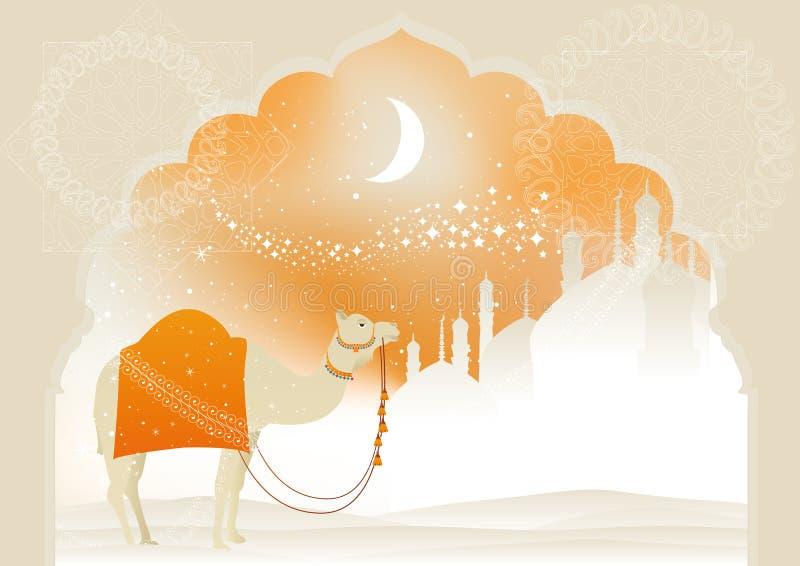 Καμήλα μέσω της ερήμου ελεύθερη απεικόνιση δικαιώματος