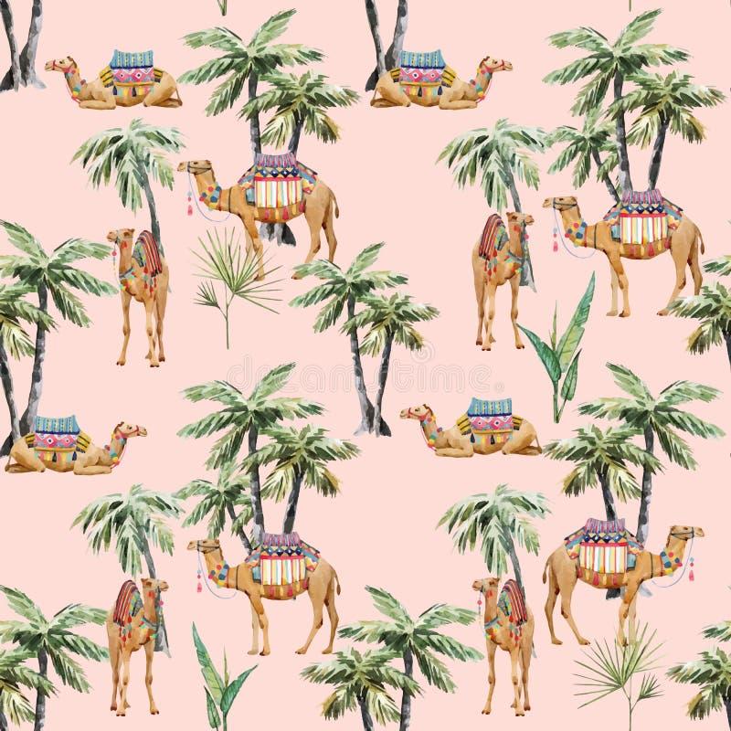 Καμήλα Watercolor και διανυσματικό σχέδιο φοινικών απεικόνιση αποθεμάτων