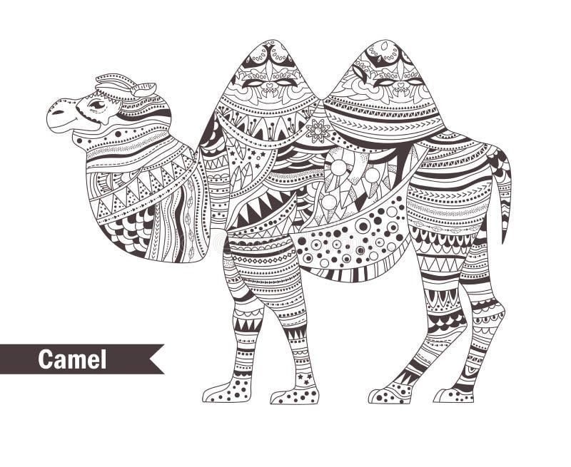 Καμήλα γραφική απεικόνιση χρωματισμού βιβλίων ζωηρόχρωμη απεικόνιση αποθεμάτων