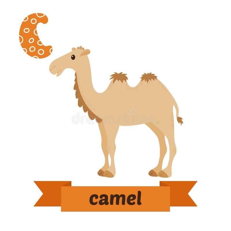 Καμήλα Επιστολή Γ Χαριτωμένο ζωικό αλφάβητο παιδιών στο διάνυσμα αστείος διανυσματική απεικόνιση