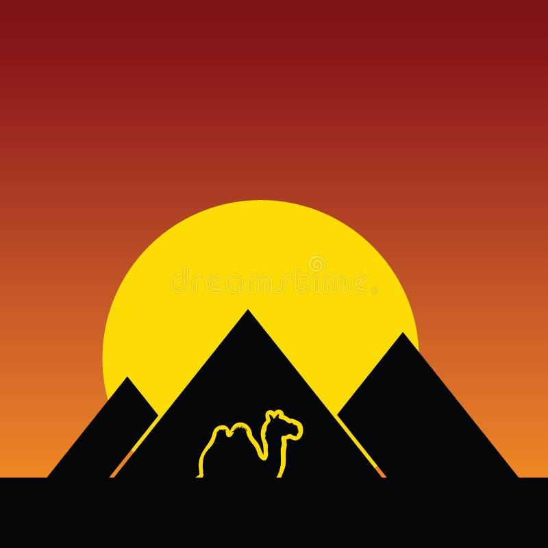 Καμήλα και έγχρωμη εικονογράφηση πυραμίδων διανυσματική απεικόνιση