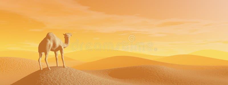 Καμήλα στην έρημο - τρισδιάστατη δώστε απεικόνιση αποθεμάτων