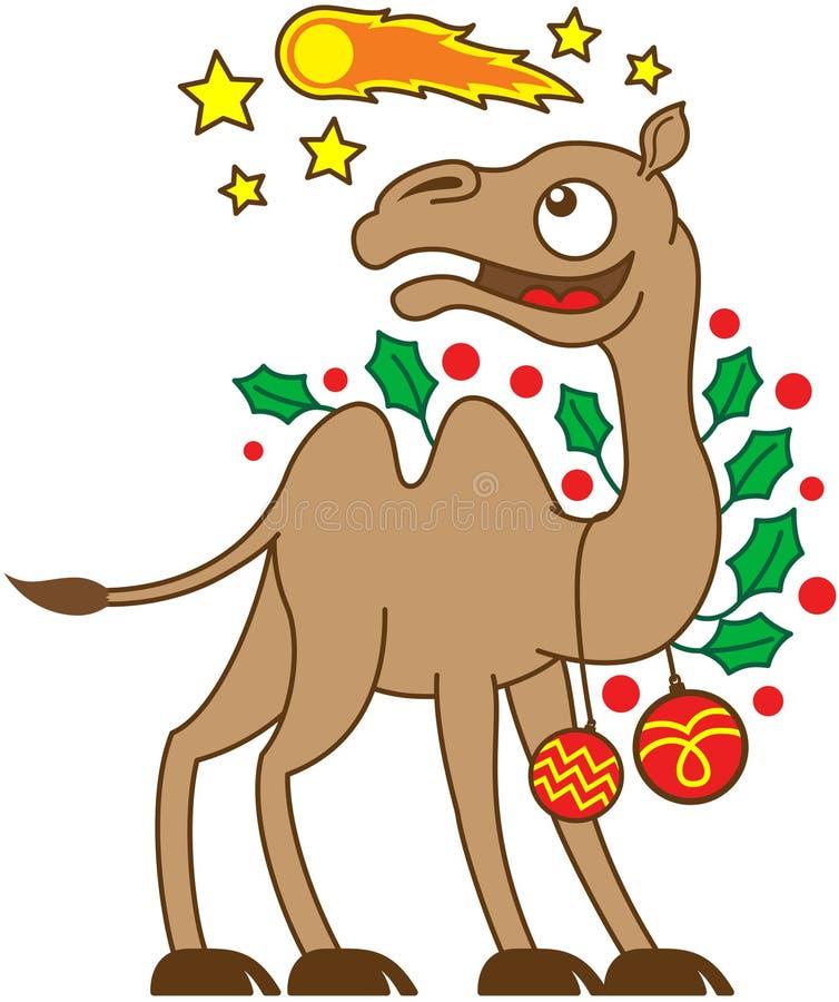 Καμήλα Χριστουγέννων που προσέχει έναν κομήτη στον ουρανό ελεύθερη απεικόνιση δικαιώματος